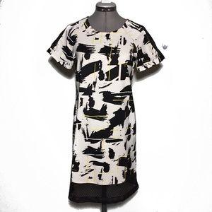 Metaphor Black White w/ Yellow & Mesh Shift Dress
